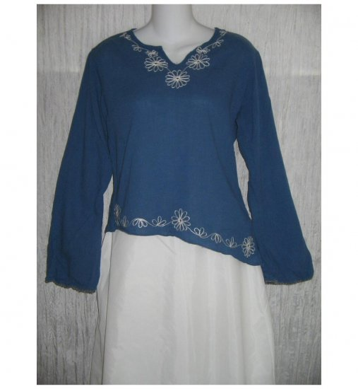 Funky People Blue Embroidered Pullover Shirt Tunic Top Medium M
