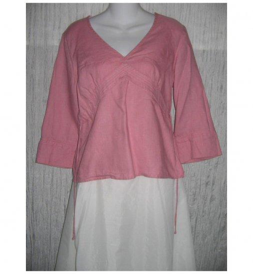 Edward Shapely Pink Irish Linen Pullover Shirt Tunic Top Medium M
