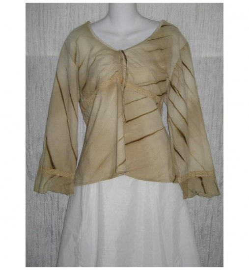 Millenium Shapely Beige Cotton Pullover Shirt Tunic Top 16