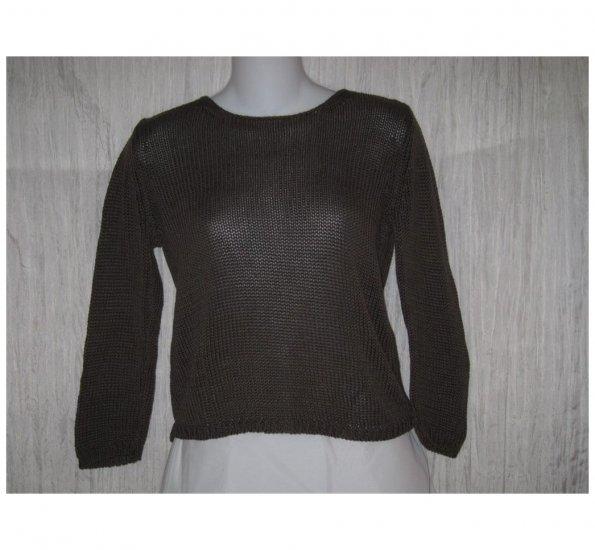 J. Jill Brown Mercerized Cotton Knit Pullover Sweater Top Small S