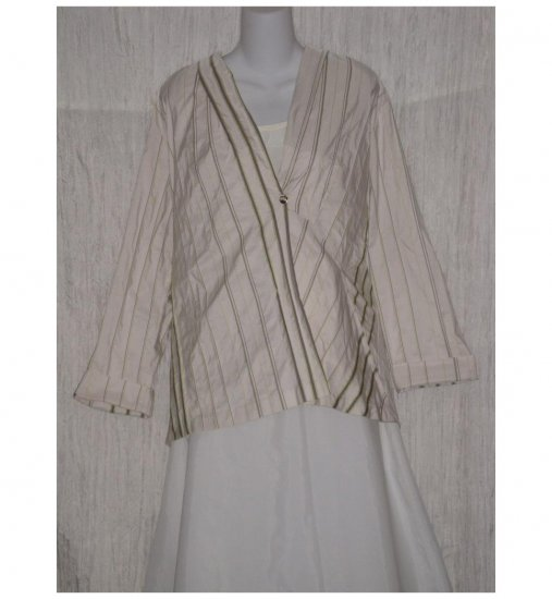 Spirithouse Asymetrical Striped Lagenlook Tunic Top Jacket Medium M