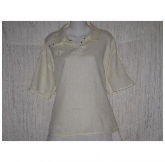 Jeanne Engelhart FLAX Cream Linen Tunic Top Shirt Medium M