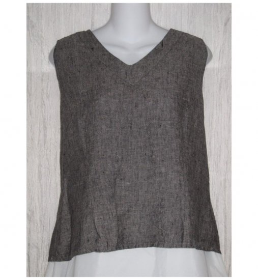 Jeanne Engelhart FLAX Gray Linen Tank Top Shirt Medium M