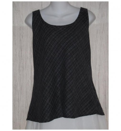 FLAX Dark Blue Plaid Linen Bias Tank Top Tunic Shirt Jeanne Engelhart Medium M
