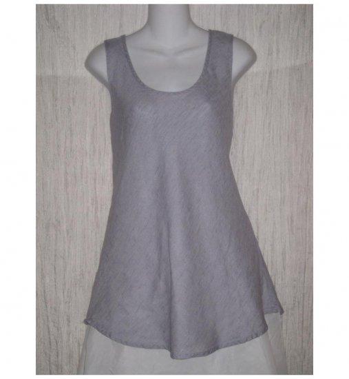 FLAX Blue Linen Bias Tank Top Tunic Shirt Jeanne Engelhart Medium M