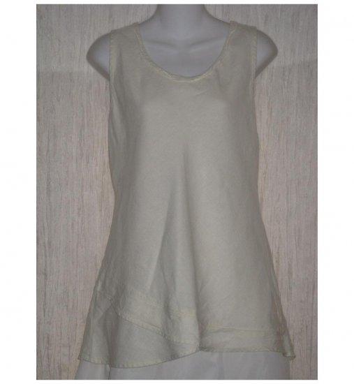 FLAX Cream Linen Bias Tank Top Tunic Shirt Jeanne Engelhart Medium M