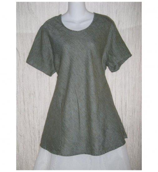 FLAX Blue Linen Bias Tunic Top Shirt Jeanne Engelhart Large L
