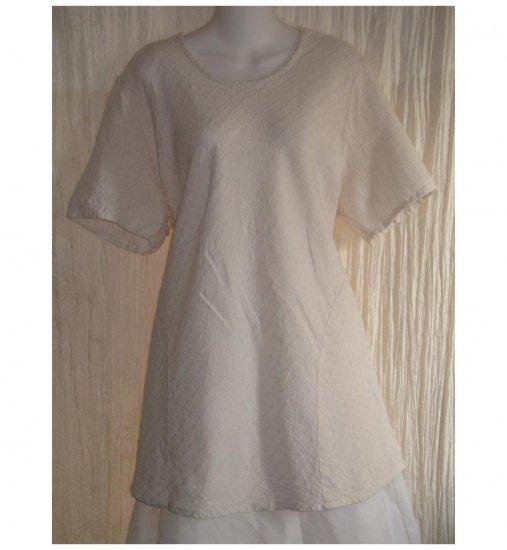 FLAX Pink Textured Linen Bias Tunic Top Shirt Jeanne Engelhart Large L