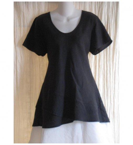 FLAX Black Linen Bias Top Tunic Shirt Jeanne Engelhart Medium M