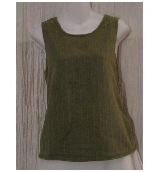 Jeanne Engelhart FLAX Green Linen Tank Top Shirt Medium M