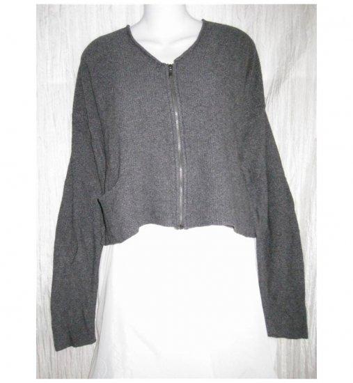 FLAX by Angelheart Jeanne Engelhart Gray Merino Wool Blend Zipper Cardigan Sweater M L