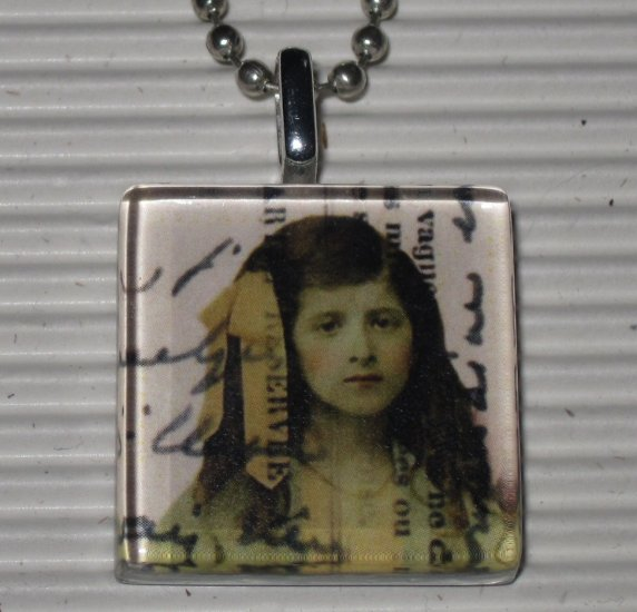 New Altered Art to Wear Glass Pendant Necklace Reservee