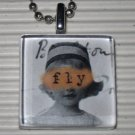 Altered Art to Wear Glass Pendant Necklace Fly Blind