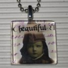 Altered Art to Wear Glass Pendant Necklace Beautiful