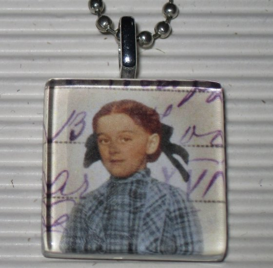 Altered Art to Wear Glass Necklace Plaid Letter Girl