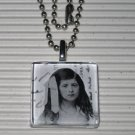 Altered Art Glass Tile Necklace Black & White Bow Girl