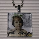 Altered Art Glass Tile Pendant Necklace Green Bow Girl