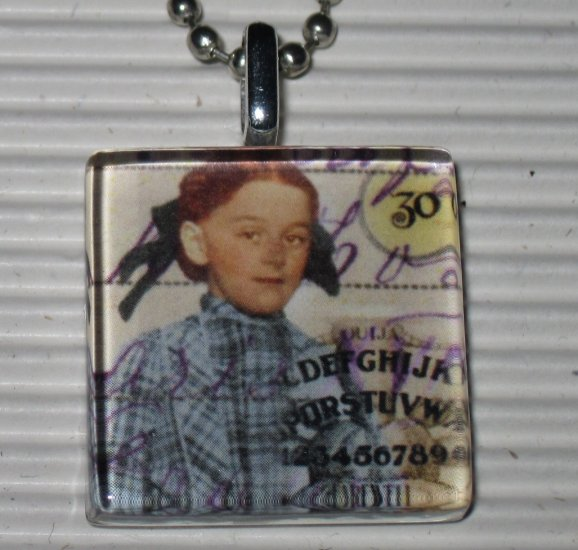 New Altered Art Glass Pendant Necklace Plaid Ouija Girl