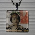 Altered Art to Wear Glass Pendant Necklace Post Haste