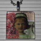 Altered Art to Wear Glass Pendant Necklace Postage Girl