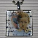 New Altered Art Glass Tile Pendant Necklace Bird Soul