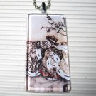 Alice in Wonderland Glass Tile Art Necklace Red Queen