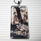 Alice in Wonderland Glass Pendant Necklace White Rabbit