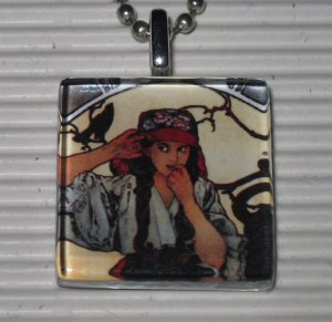 Alphonse Mucha Glass Tile Pendant Necklace Gypsy & Crow