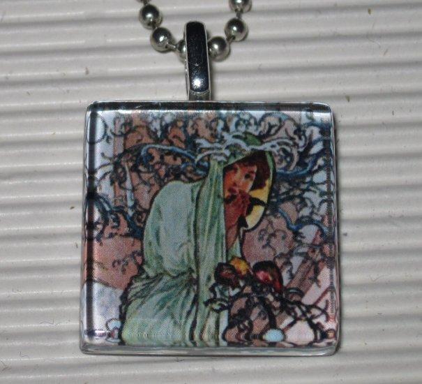 Altered Art Glass Tile Necklace Alphonse Mucha Winter
