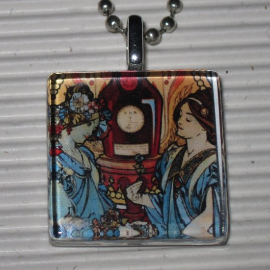 Altered Art Glass Necklace Alphonse Mucha Benedictine