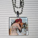 Altered Art Glass Tile Necklace Alphonse Mucha Summer
