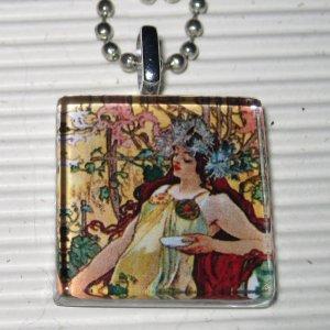 Altered Art Glass Tile Necklace Alphonse Mucha Autumn