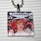 Glass Pendant Necklace Alphonse Mucha Champenois Paris