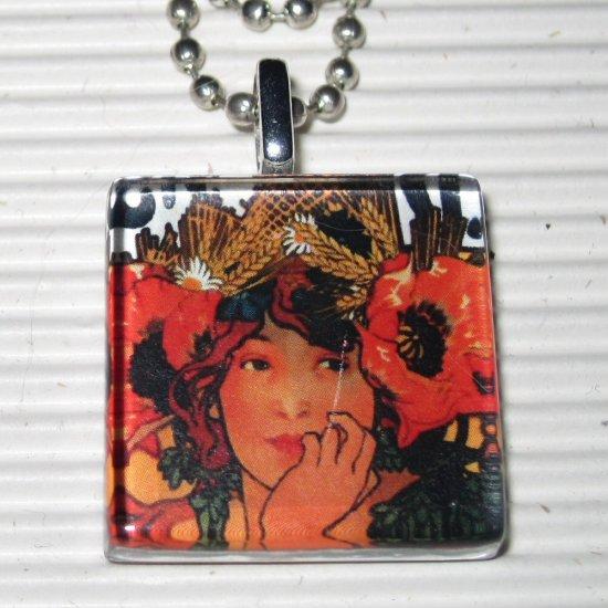 Art Glass Necklace Alphonse Mucha Bieres De La Meuse