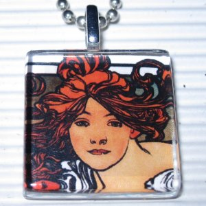 Art Nouveau Glass Tile Necklace Mucha Cycles Perfecta