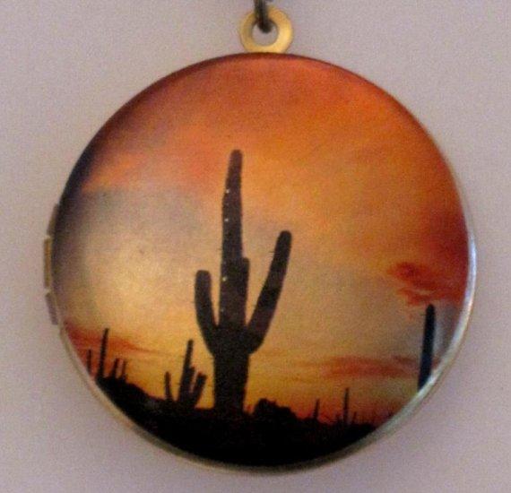 New Art Locket Pendant Necklace Desert Sunset Cactus
