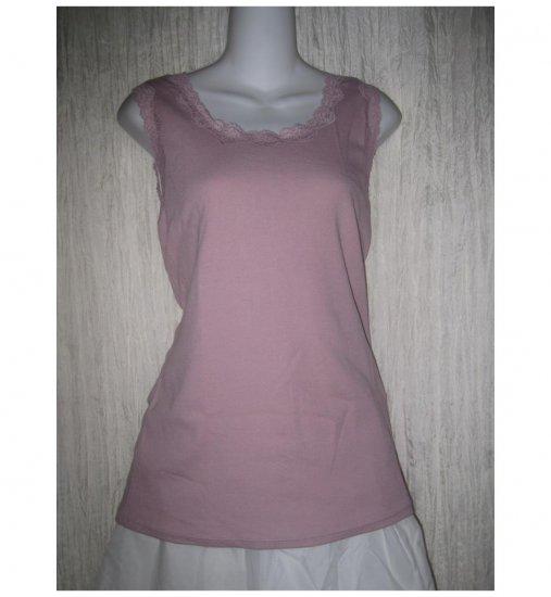 NEW J. Jill Stretch Lilac Lace Trim Cotton Knit Pullover Shirt Tank Top 1X
