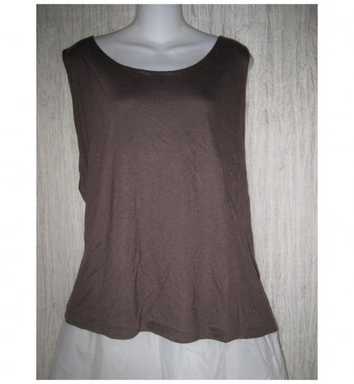 NEW J. Jill Soft Modal Rayon Knit Pullover Shirt Tank Top Brown 4X