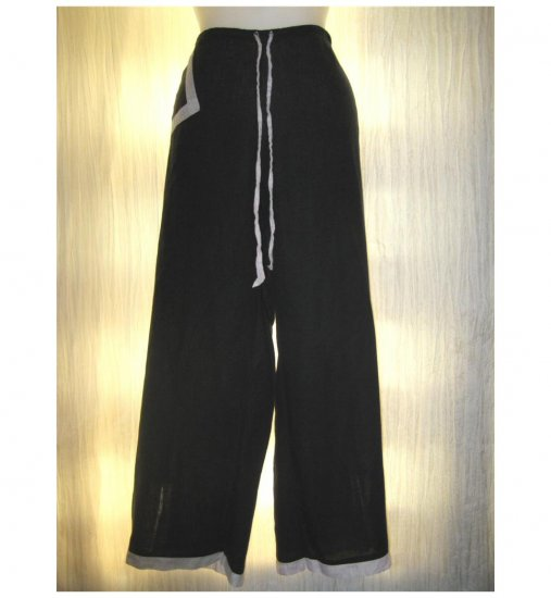 SOLITAIRE Black LINEN Wide Leg Floods Pants X-Large XL
