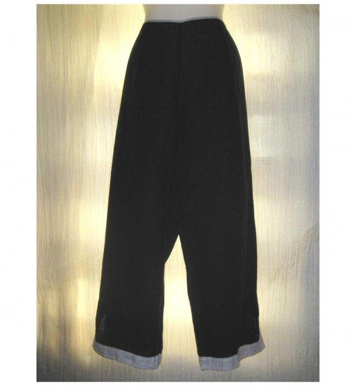 SOLITAIRE Black LINEN Wide Leg Floods Pants X-Large XL
