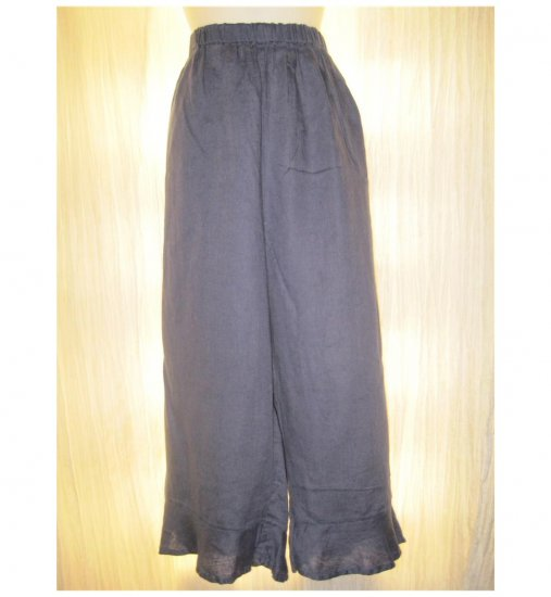 Jeanne Engelhart FLAX Blue Linen Bedskirt Bloomers Flood Pants Large L