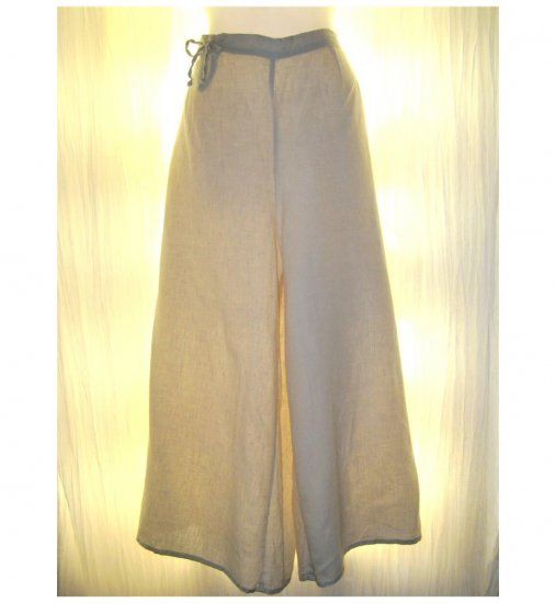 FLAX Yellow Linen Wide Leg Tied Gauchos Pants Jeanne Engelhart Medium M