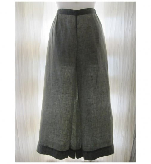 Jeanne Engelhart FLAX Green LINEN Floods Pants Medium M
