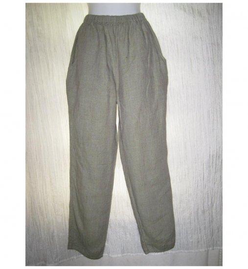 Jeanne Engelhart FLAX Long Green Cross Weave Linen Pants Small S
