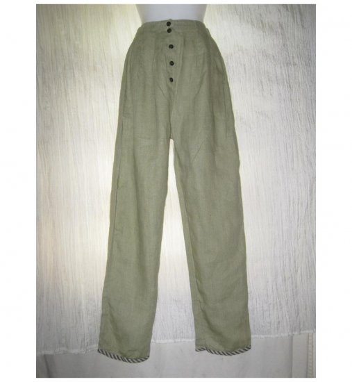 Visual Professional VP Long Green Linen Pants Size 1