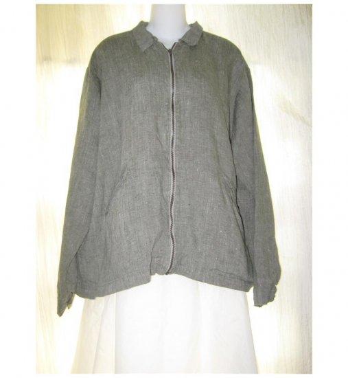 Haymaker Engalhart FLAX Gray Green Linen Lined Zip Jacket Medium M