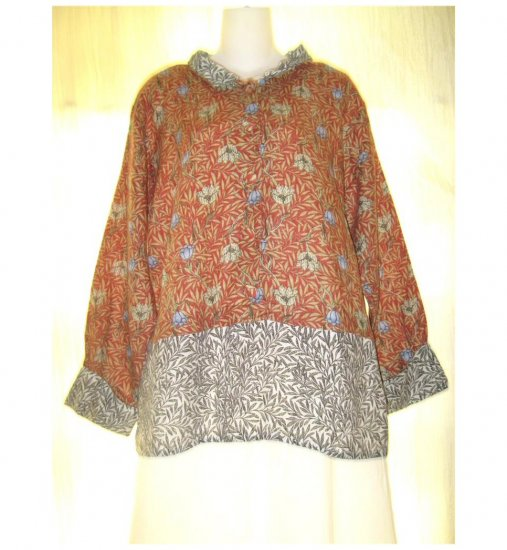 Jeanne Engelhart FLAX Burnt Orange Floral Skirted Linen Pullover Shirt Tunic Top Small S