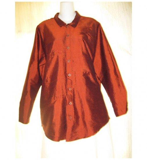FLAX Red Silk Button Shirt Tunic Top Jeanne Engelhart Small S