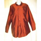 FLAX Red Silk Button Shirt Tunic Top Jeanne Engelhart Small S