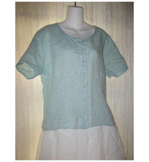 Jeanne Engelhart FLAX Shapely Blue Linen Button Top Shirt Medium M